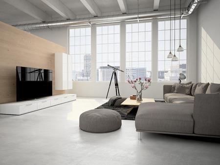 Contemporary soggiorno soppalco interno. Rendering 3D Archivio Fotografico - 54877916