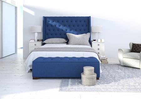 bedroom bed: comfortable bedroom with nice decoration, interior ideas. 3d rendering