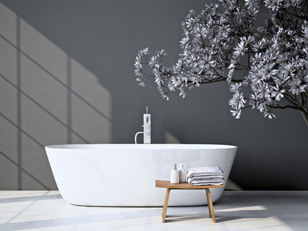 Modern grey bathroom. Spa interior. 3d rendering Reklamní fotografie - 56466668