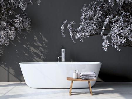 현대 회색 욕실. 스파 인테리어. 3d 렌더링