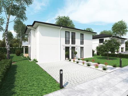 moderne herenhuis met veel groen. 3D-rendering