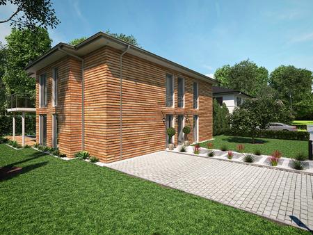 case moderne: bella casa moderna con un giardino. rendering 3D