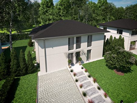 home and garden: beautiful modern house with a garden. 3d rendering Stock Photo