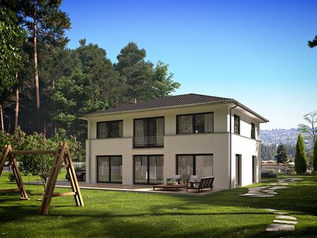 moderna struttura cittadina, con un sacco di verde. rendering 3D