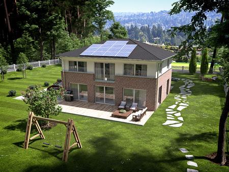 지붕에 태양 전지 패널과 집. 3D 렌더링