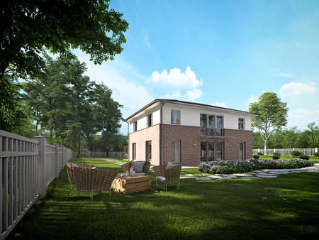 pent: modern townhouse with a lot of green. 3d rendering