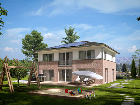 home and garden: modern townhouse with a lot of green. 3d rendering