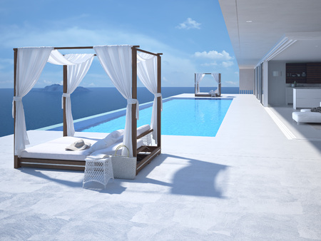 mediterranean houses: A luxury swimming pool in santorini. 3d rendering