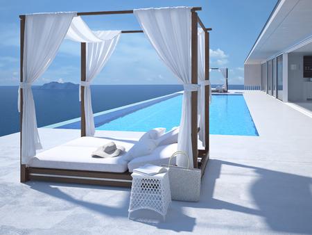 A luxury swimming pool in santorini. 3d rendering