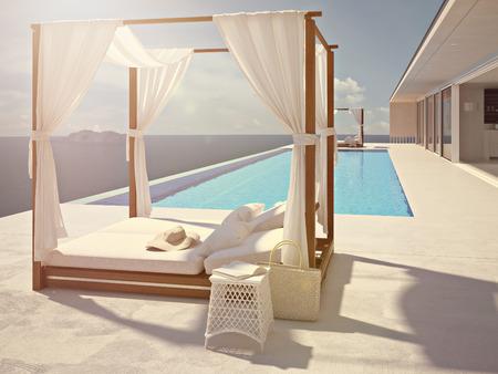 Une piscine de luxe à Santorin. rendu 3d