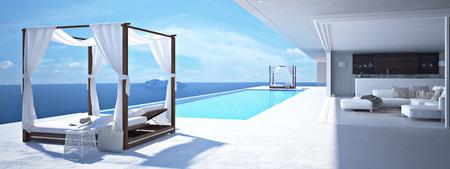 산토리니에서 럭셔리 수영장. 3d 렌더링