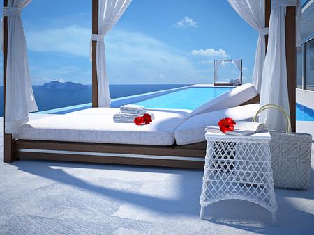 Luxe piscine en été. rendu 3d Banque d'images - 58784351