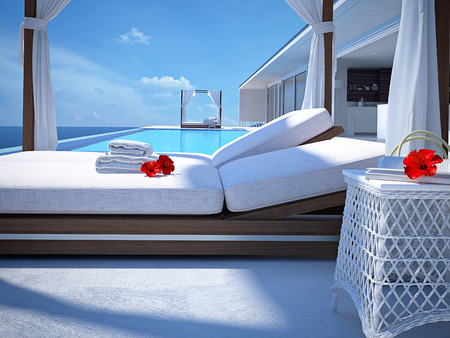 cabana: luxury swimming pool in summer. 3d rendering