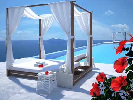 여름에 럭셔리 수영장. 3d 렌더링 스톡 콘텐츠