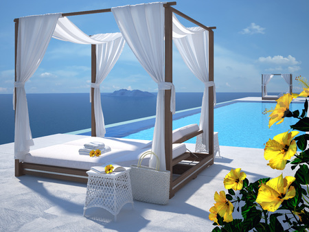 luxury swimming pool in summer. 3d rendering Stock fotó - 58784374
