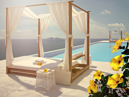 3d bungalow: luxury swimming pool in summer. 3d rendering
