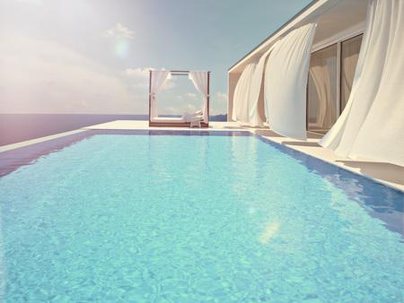 luxury swimming pool in summer. 3d rendering