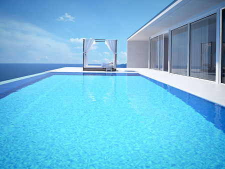 sea view: luxury swimming pool in summer. 3d rendering
