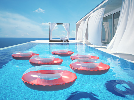 swimm: luxury swimming pool in summer. 3d rendering