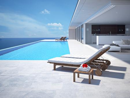 夏の豪華なスイミング プール。3 d レンダリング 写真素材