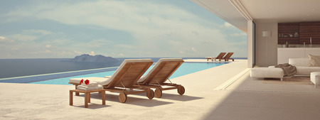 thailand beach: luxury swimming pool in summer. 3d rendering