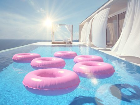 3d swimming pool: luxury swimming pool in summer. 3d rendering