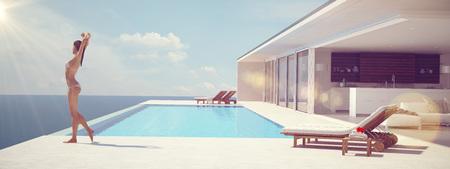 Jonge vrouw genieten van de zon bij de eindeloze zwembad. kleur edit.3d teruggeven