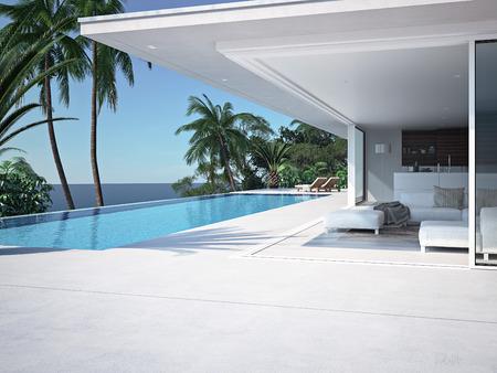 Luxe zwembad en blauw water in het resort. 3D-rendering