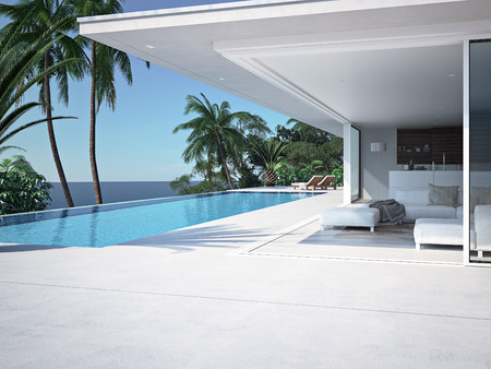 Luxury swimming pool and blue water at the resort. 3d rendering Banco de Imagens - 59951863