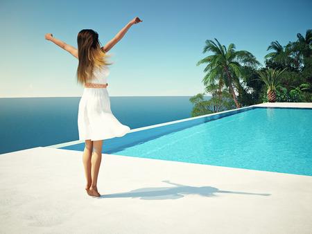 woman in luxury spa resort near the swimming pool. 3d rendering Фото со стока