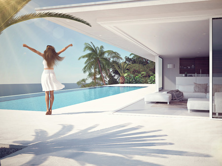 kobieta w luksusowe uzdrowiska w pobliżu basenu. 3d rendering