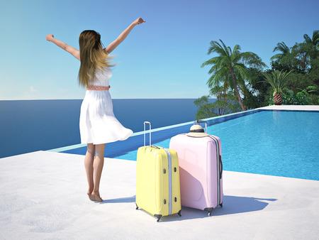 スイミング プールのそばの高級スパ リゾートの女性。3 d レンダリング 写真素材 - 59966808