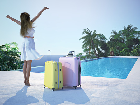 3d swimming pool: woman in luxury spa resort near the swimming pool. 3d rendering Stock Photo