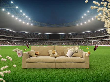stadium with a sofa in the middle and flying fastfood. 3d rendering Stock Photo