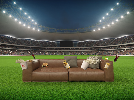 stadium with a sofa in the middle and flying fastfood. 3d rendering