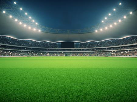 Stadion z fanami w noc przed meczem Zdjęcie Seryjne