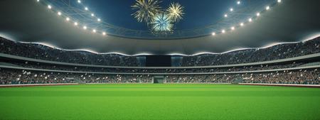 試合前に、の夜のファンとスタジアム