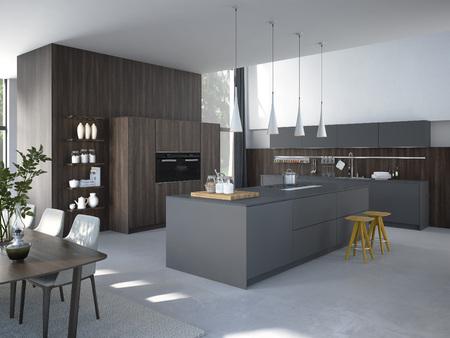 Moderne, lumineux, propre, intérieur de cuisine avec des appareils en acier inoxydable dans une maison de luxe.