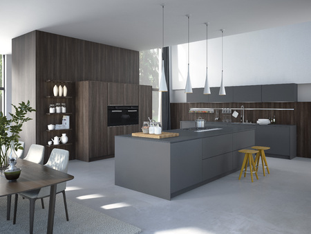 Modern, bright, clean, kitchen interior with stainless steel appliances in a luxury house. Archivio Fotografico