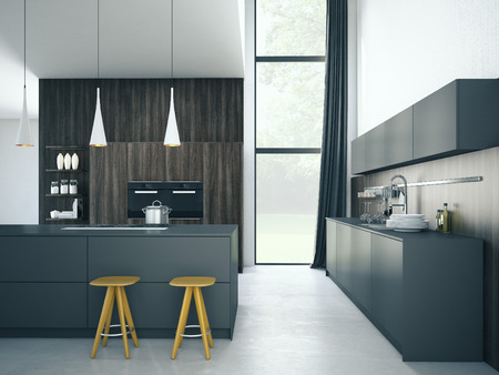 gourmet kitchen: Modern, bright, clean, kitchen interior with stainless steel appliances in a luxury house. Stock Photo