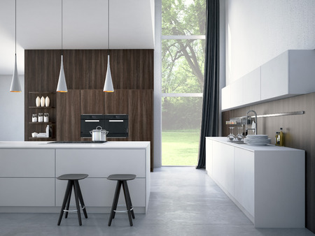 built: Modern, bright, clean, kitchen interior with stainless steel appliances in a luxury house. Stock Photo
