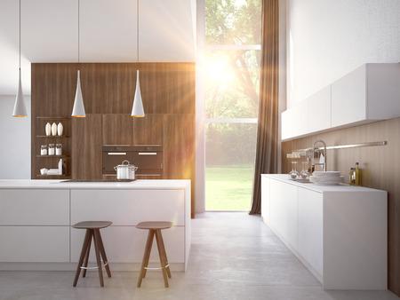 Modern, licht, schoon, keuken interieur met roestvrij stalen apparatuur in een luxe huis.