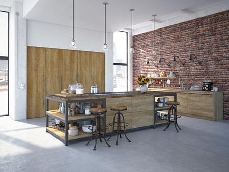 Rendering 3D di Design moderno Cucina Inter Archivio Fotografico - 61009523