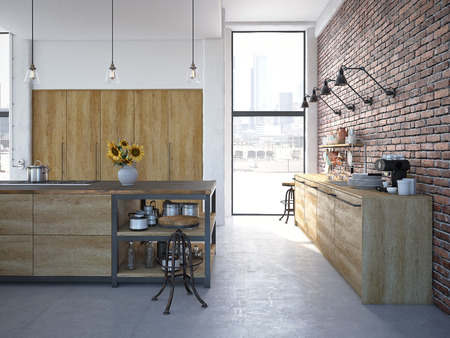 3d rendering of Modern Design Kitchen Interior 免版税图像