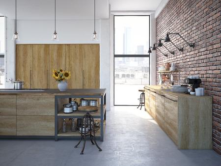 3d rendering of Modern Design Kitchen Interior Foto de archivo