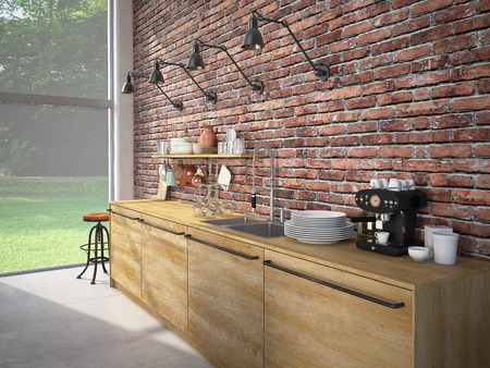 3d rendering of Modern Design Kitchen Interior Stock Photo