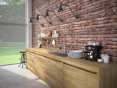 Rendering 3D di Design moderno Kitchen Interior Archivio Fotografico - 61075023