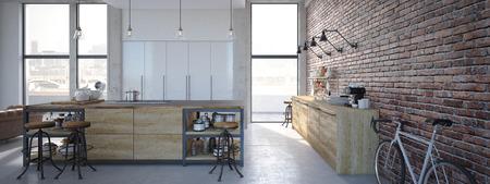 3d rendering of Modern Design Kitchen Interior Zdjęcie Seryjne