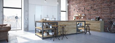 Rendering 3D di Design moderno Kitchen Interior Archivio Fotografico - 61235956