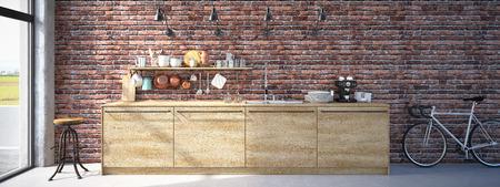 3d rendering of Modern Design Kitchen Interior Stock Photo
